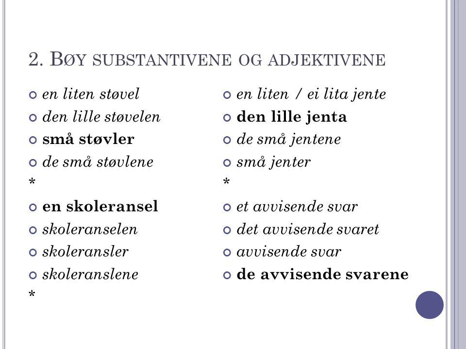 2. Bøy substantivene og adjektivene