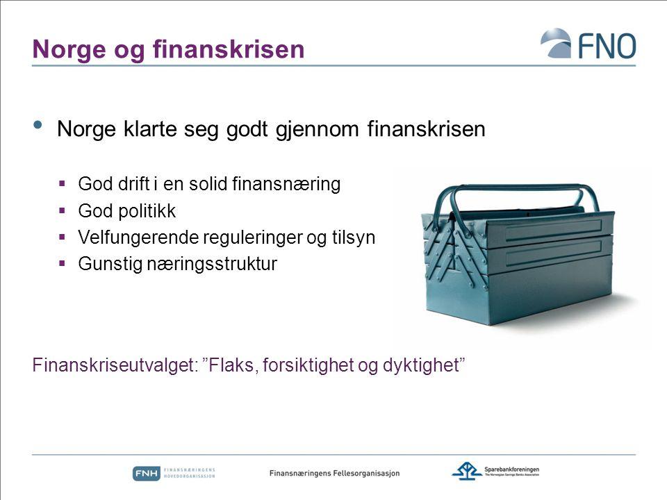 Norge og finanskrisen Norge klarte seg godt gjennom finanskrisen