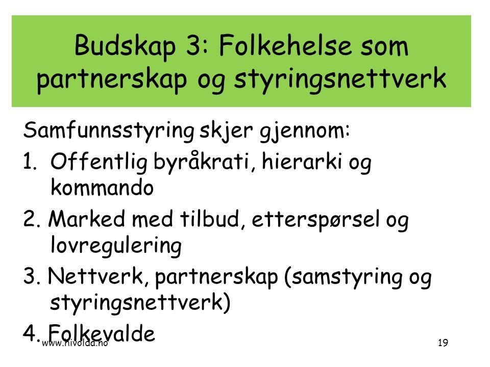 Budskap 3: Folkehelse som partnerskap og styringsnettverk