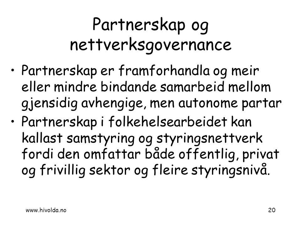 Partnerskap og nettverksgovernance