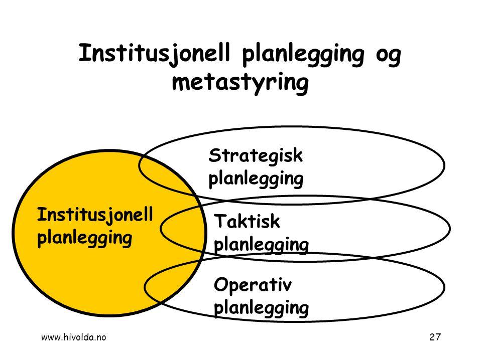 Institusjonell planlegging og metastyring
