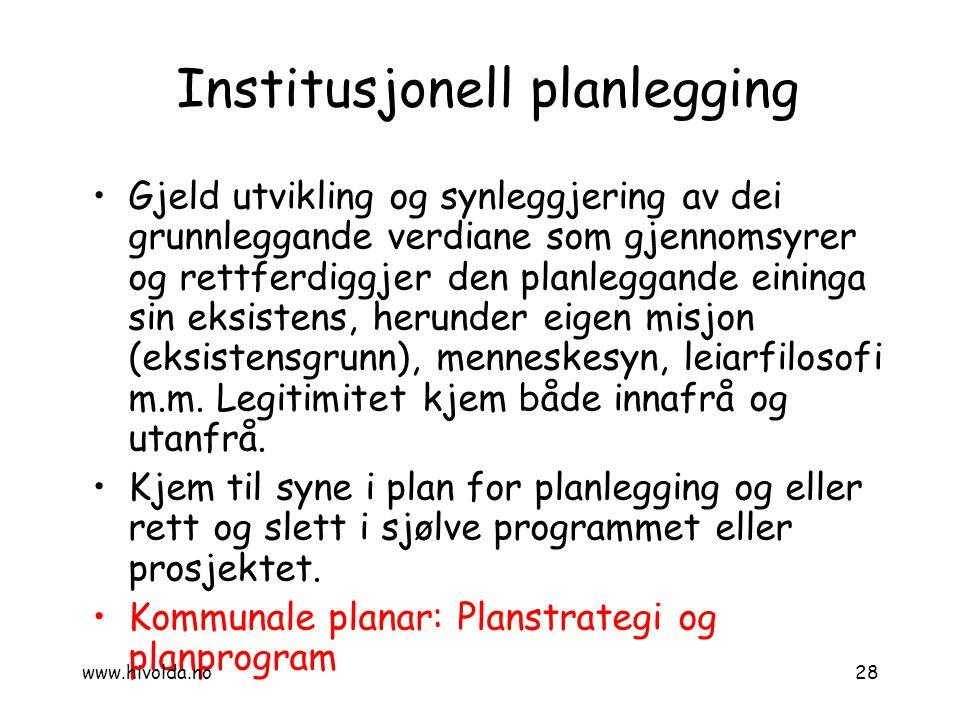 Institusjonell planlegging
