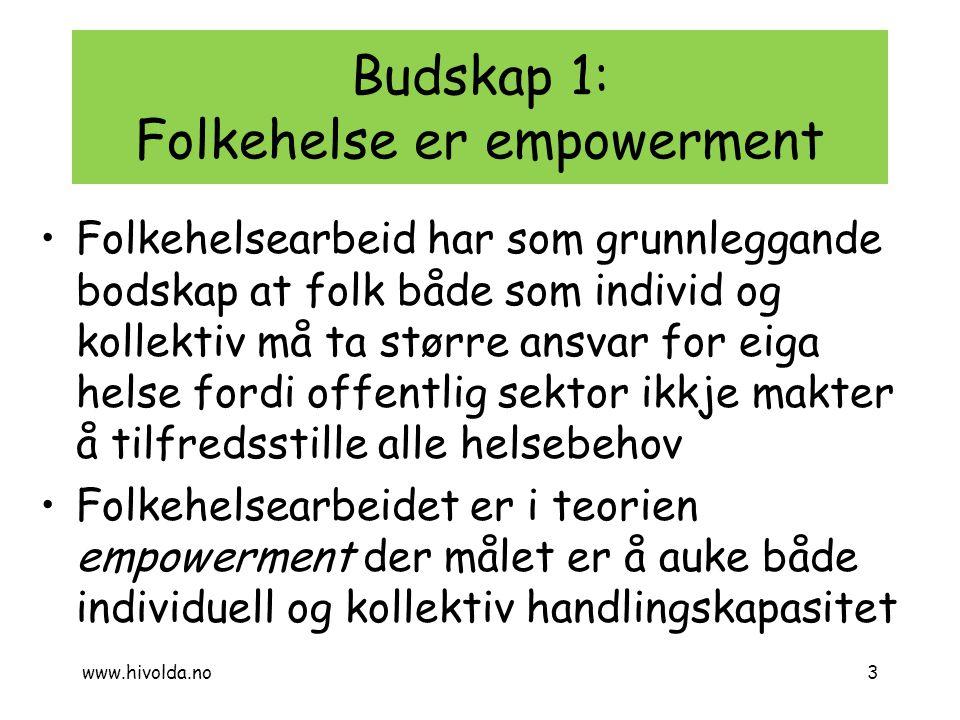 Budskap 1: Folkehelse er empowerment