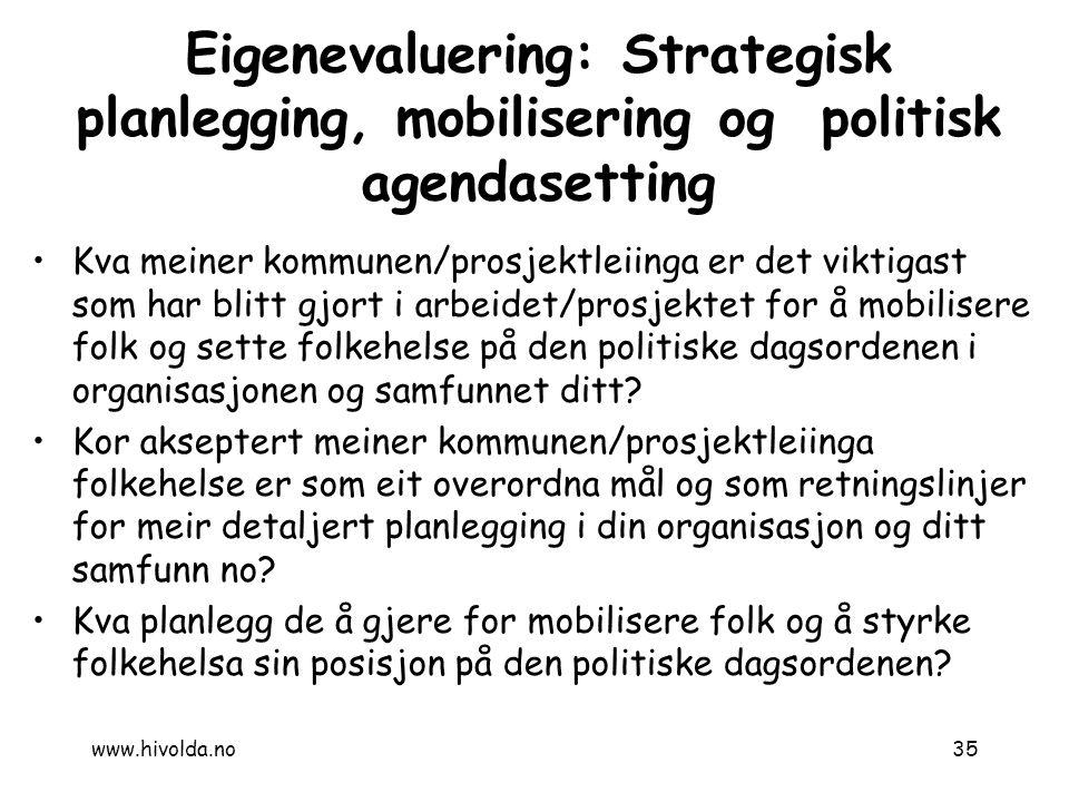7.12.2010 Eigenevaluering: Strategisk planlegging, mobilisering og politisk agendasetting.