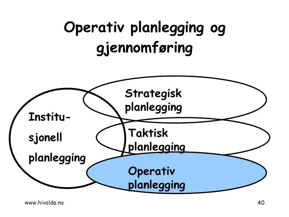Operativ planlegging og gjennomføring