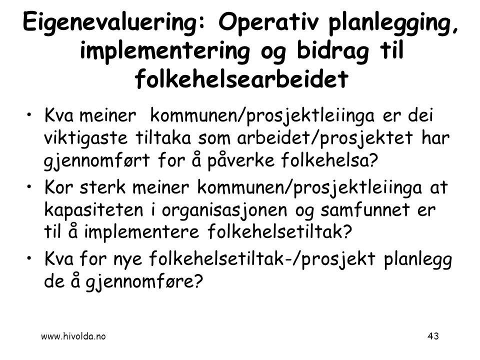 7.12.2010 Eigenevaluering: Operativ planlegging, implementering og bidrag til folkehelsearbeidet.