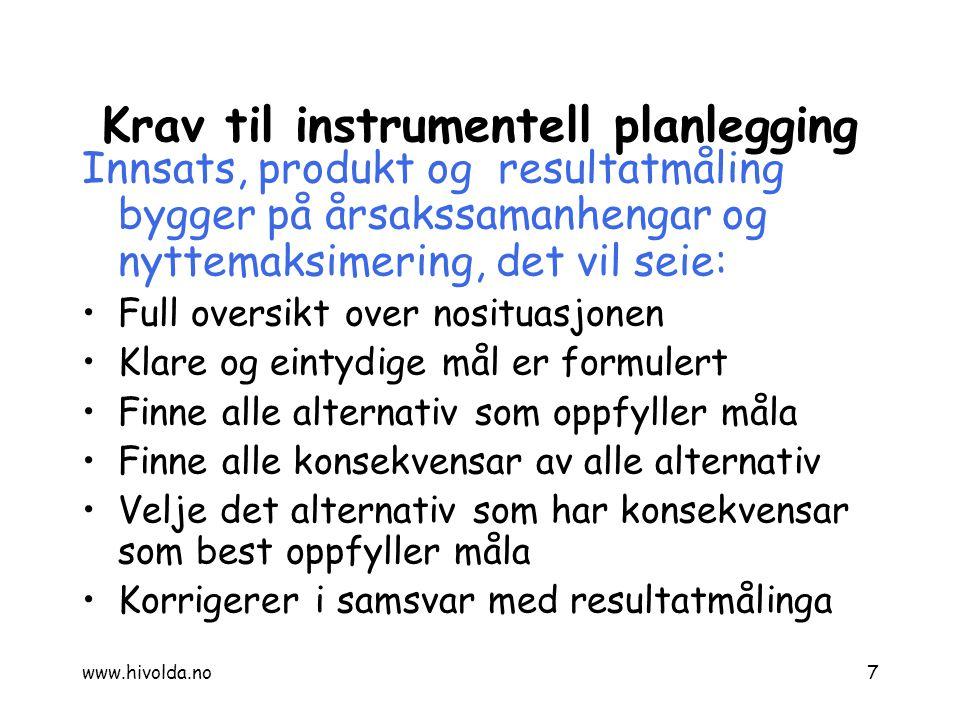 Krav til instrumentell planlegging