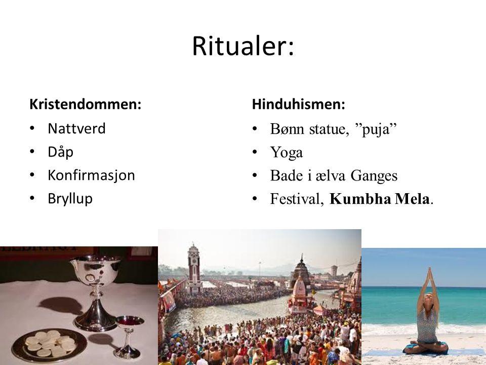 Ritualer: Kristendommen: Hinduhismen: Nattverd Dåp Konfirmasjon