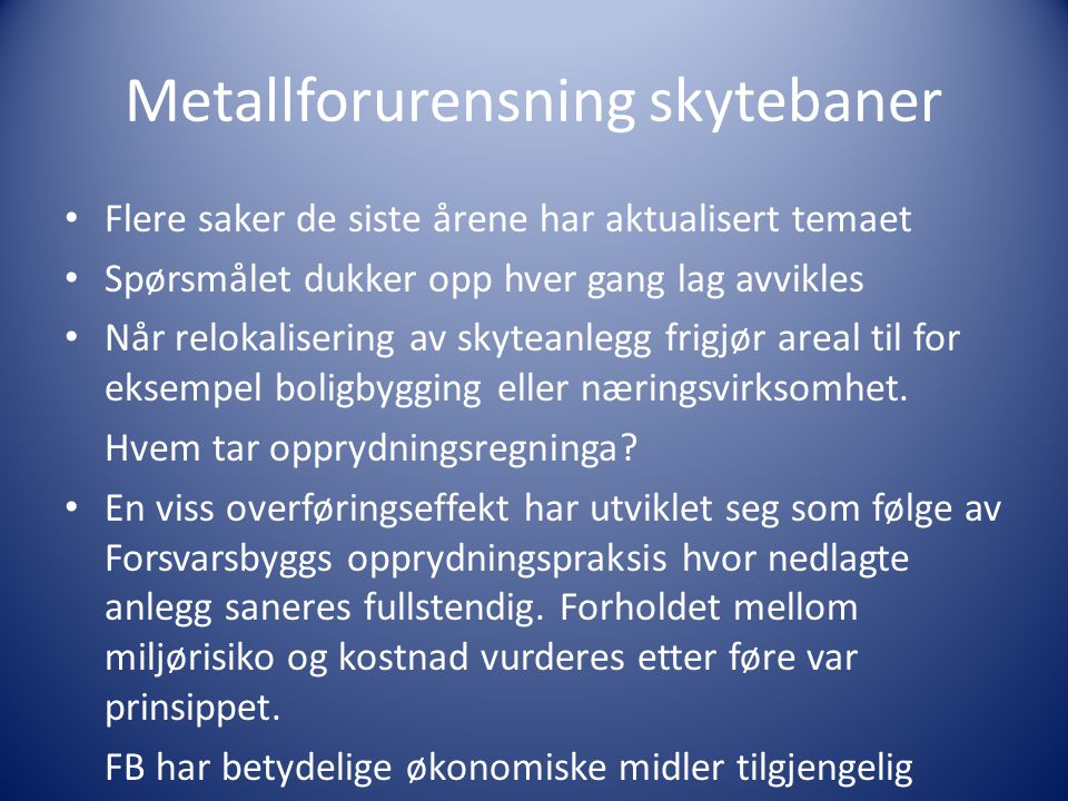 Metallforurensning skytebaner