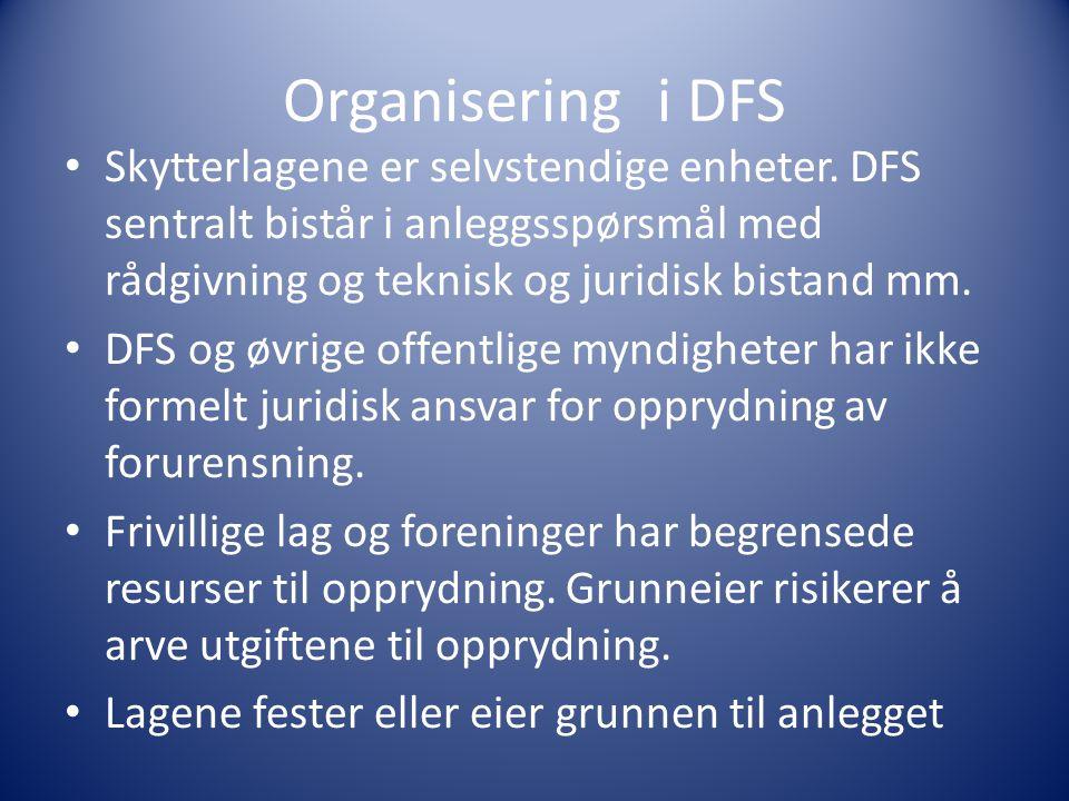Organisering i DFS Skytterlagene er selvstendige enheter. DFS sentralt bistår i anleggsspørsmål med rådgivning og teknisk og juridisk bistand mm.