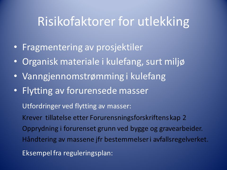 Risikofaktorer for utlekking