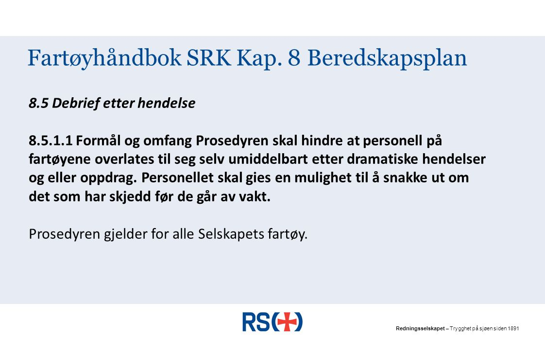 Fartøyhåndbok SRK Kap. 8 Beredskapsplan