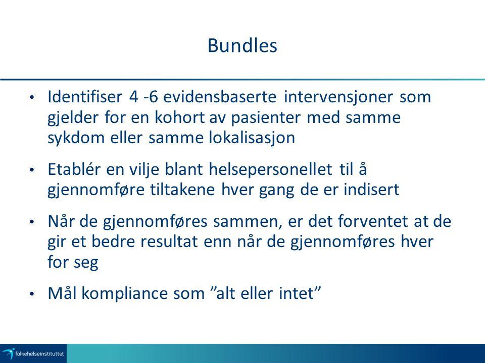 Bundles Identifiser 4 -6 evidensbaserte intervensjoner som gjelder for en kohort av pasienter med samme sykdom eller samme lokalisasjon.