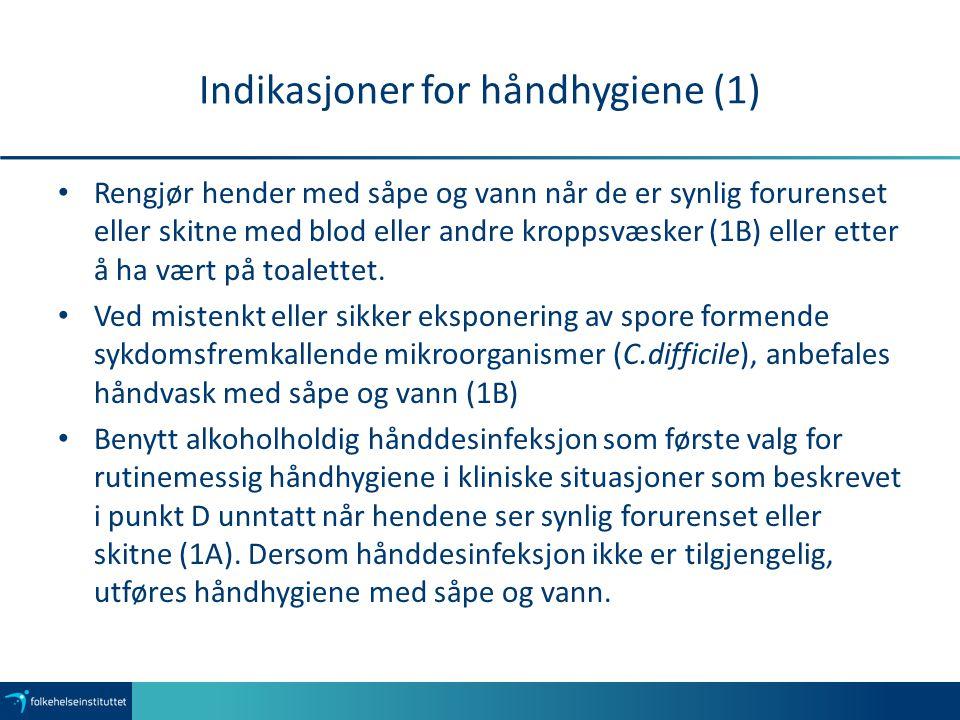 Indikasjoner for håndhygiene (1)