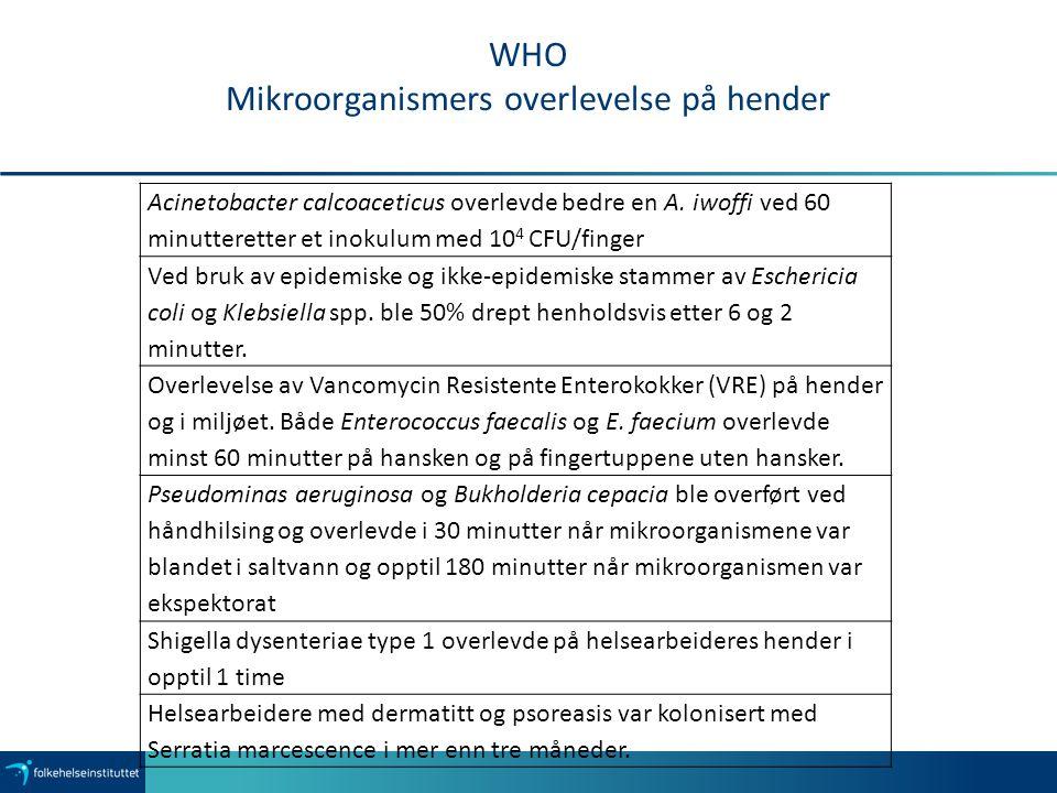 WHO Mikroorganismers overlevelse på hender
