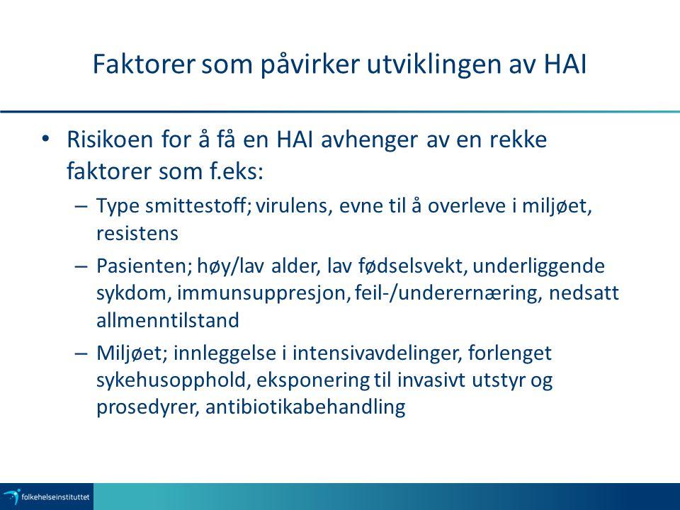 Faktorer som påvirker utviklingen av HAI