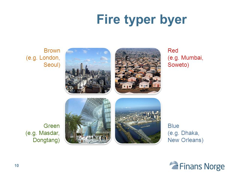 Fire typer byer Brown (e.g. London, Seoul) Red (e.g. Mumbai, Soweto)