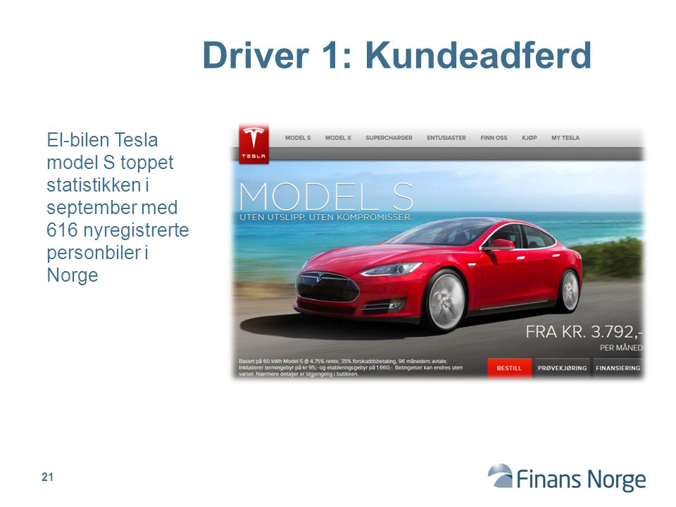 Driver 1: Kundeadferd El-bilen Tesla model S toppet statistikken i september med 616 nyregistrerte personbiler i Norge.