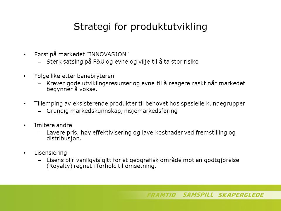 Strategi for produktutvikling
