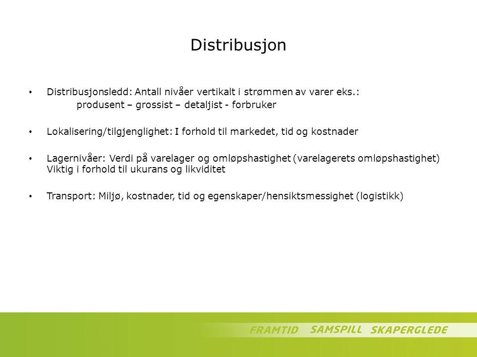 Distribusjon Distribusjonsledd: Antall nivåer vertikalt i strømmen av varer eks.: produsent – grossist – detaljist - forbruker.