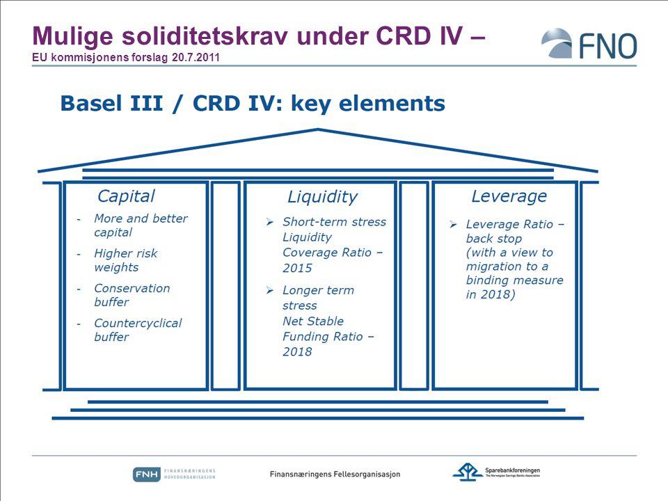 Mulige soliditetskrav under CRD IV – EU kommisjonens forslag 20.7.2011