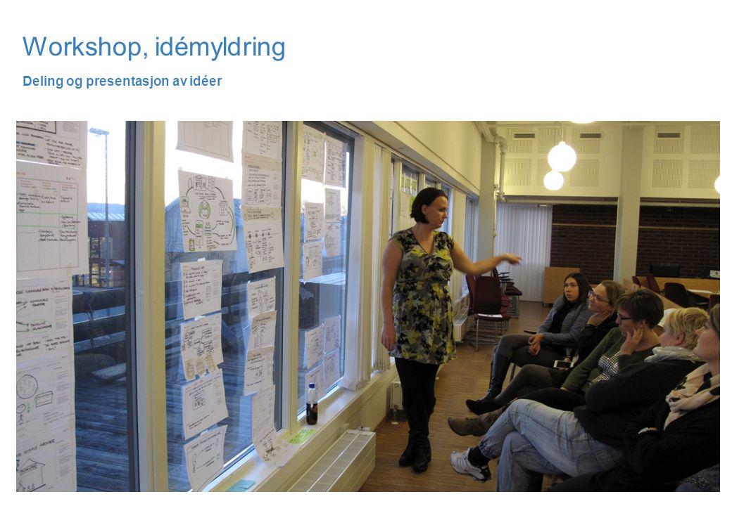 Workshop, idémyldring Deling og presentasjon av idéer
