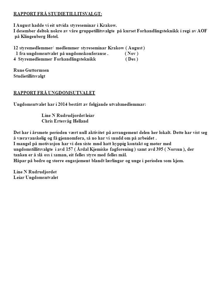 RAPPORT FRÅ STUDIETILLITSVALGT: