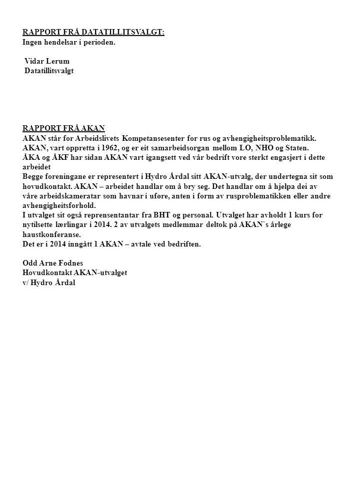 RAPPORT FRÅ DATATILLITSVALGT: