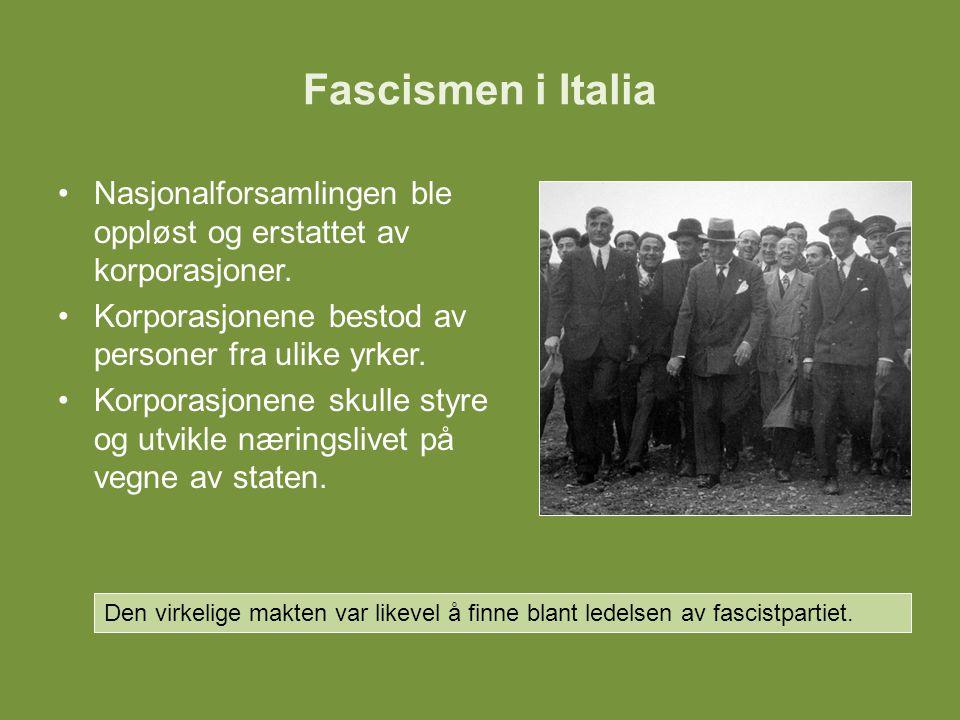 Fascismen i Italia Nasjonalforsamlingen ble oppløst og erstattet av korporasjoner. Korporasjonene bestod av personer fra ulike yrker.