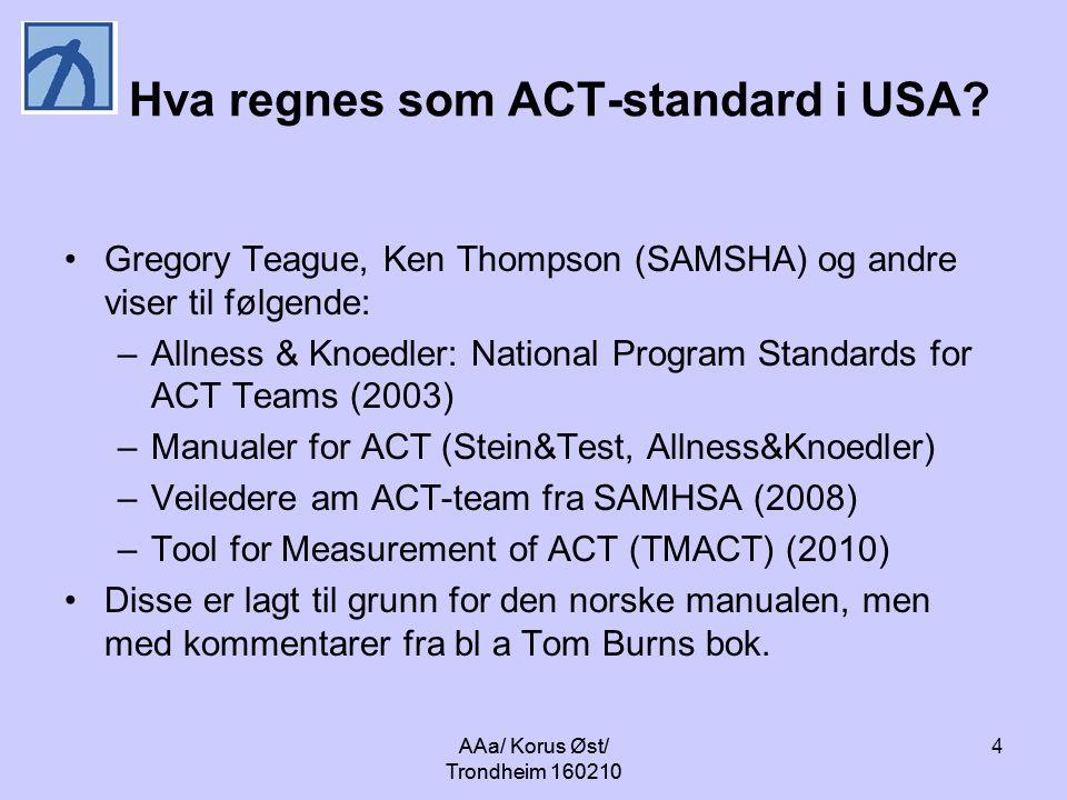 Hva regnes som ACT-standard i USA