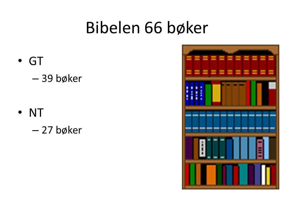 Bibelen 66 bøker GT 39 bøker NT 27 bøker