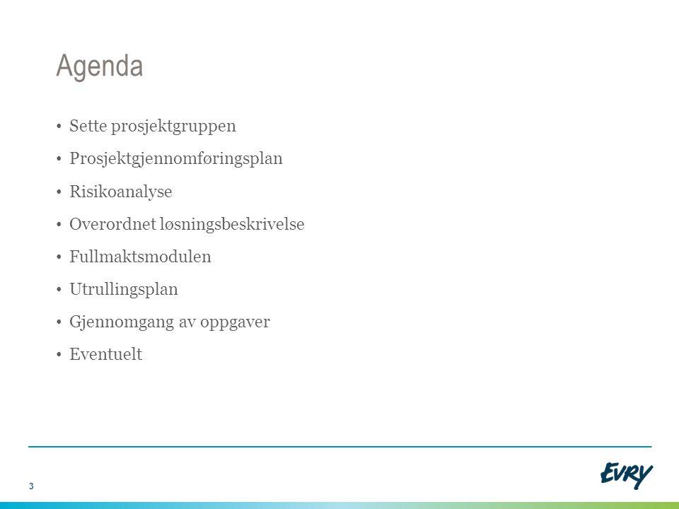 Agenda Sette prosjektgruppen Prosjektgjennomføringsplan Risikoanalyse