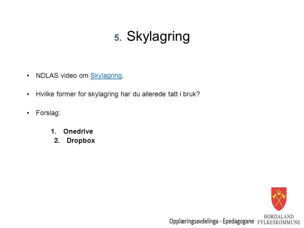 5. Skylagring NDLAS video om Skylagring.