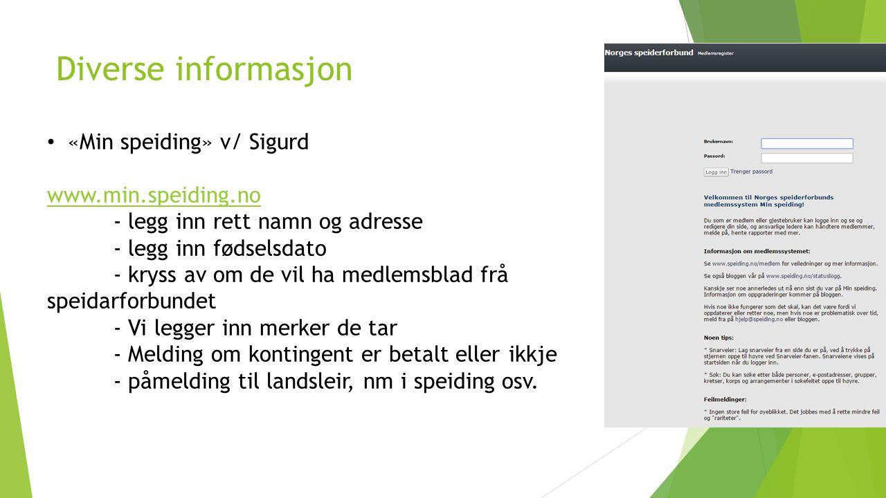 Diverse informasjon «Min speiding» v/ Sigurd www.min.speiding.no