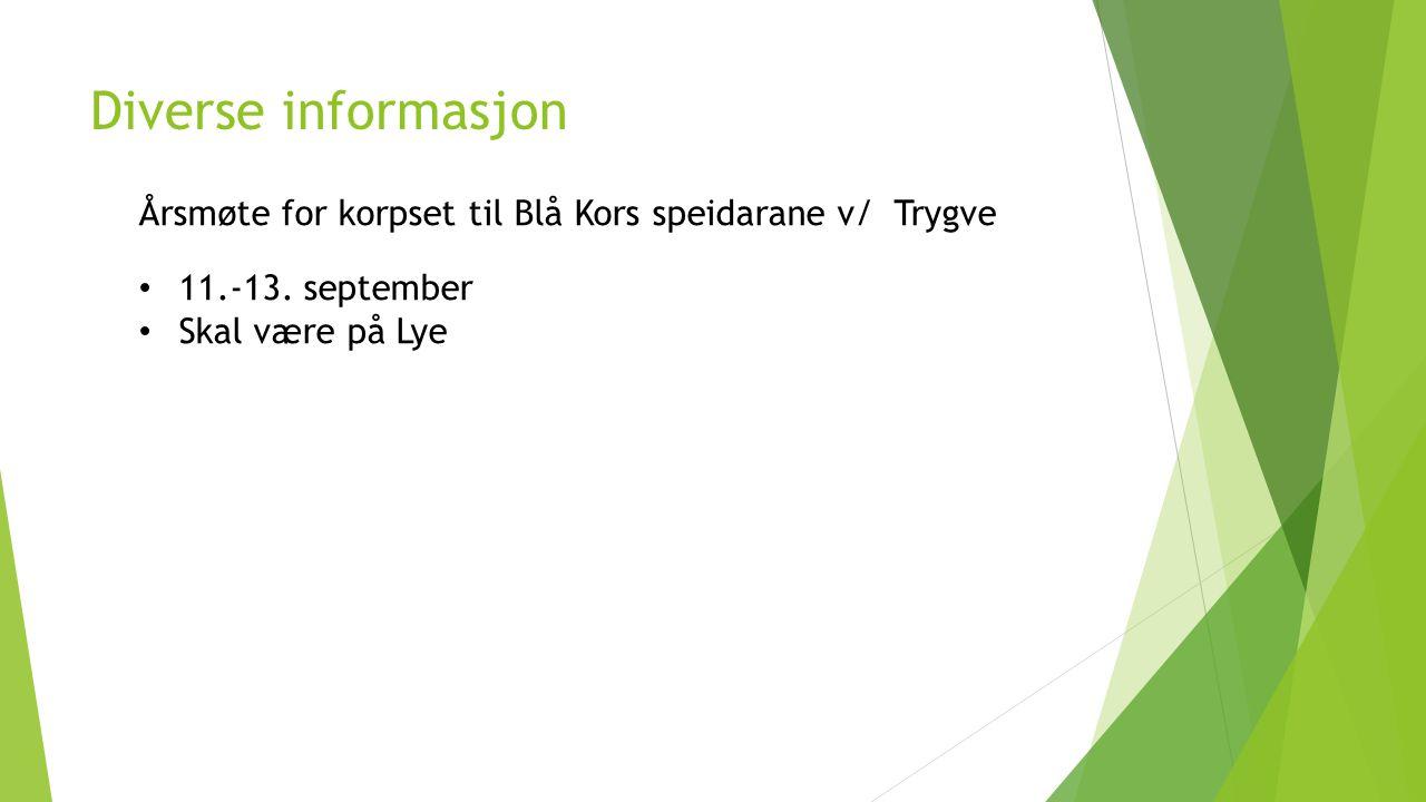Diverse informasjon Årsmøte for korpset til Blå Kors speidarane v/ Trygve.