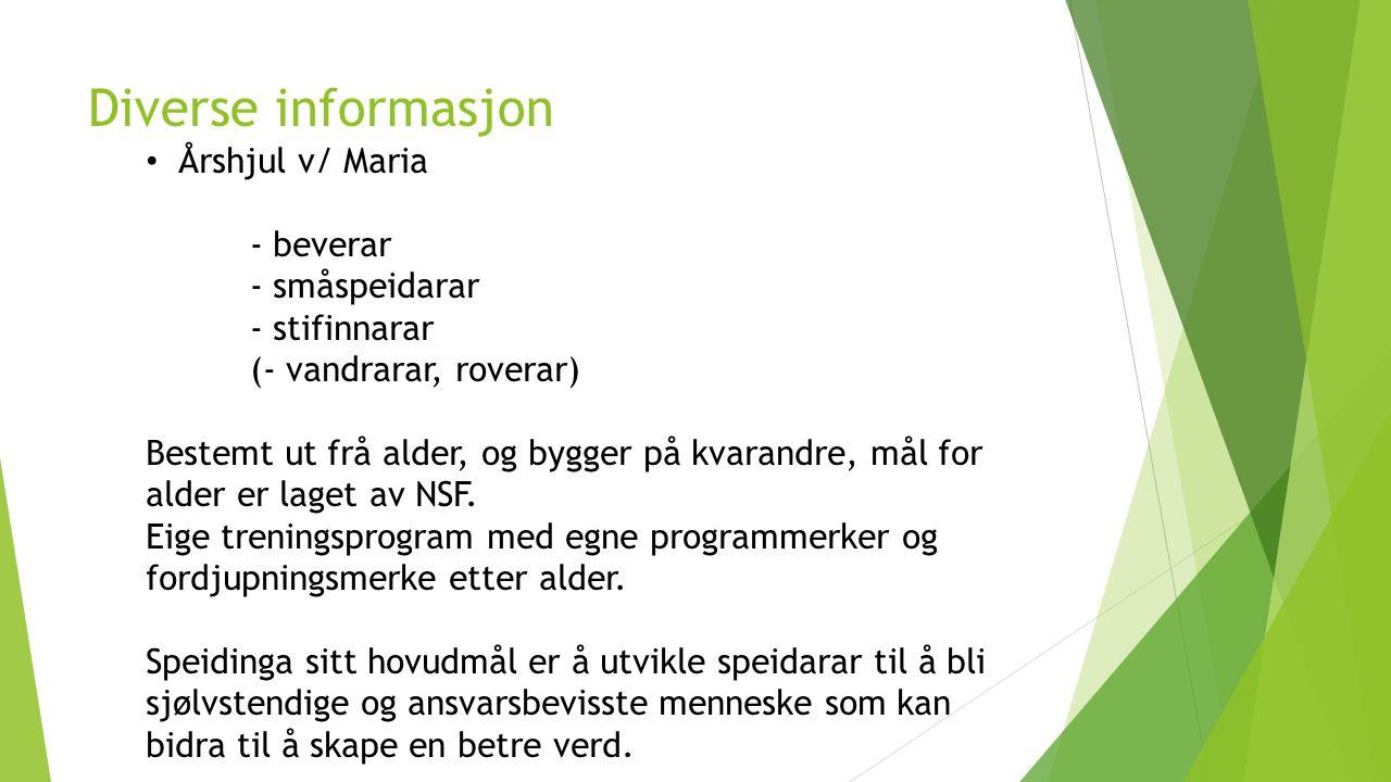 Diverse informasjon Årshjul v/ Maria - beverar - småspeidarar