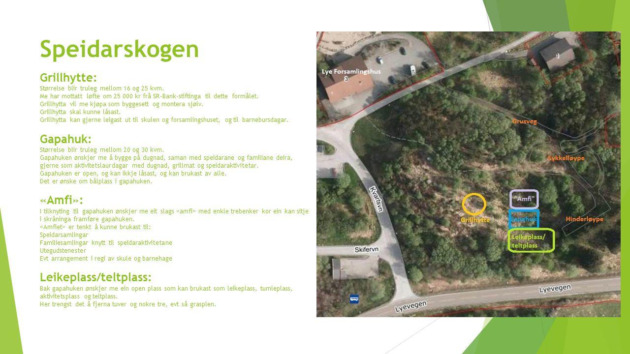 Speidarskogen Grillhytte: Størrelse blir truleg mellom 16 og 25 kvm