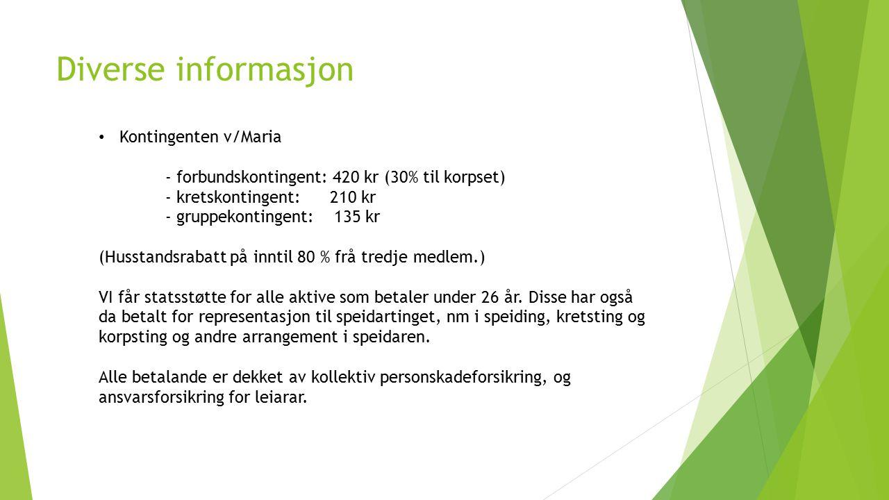 Diverse informasjon Kontingenten v/Maria