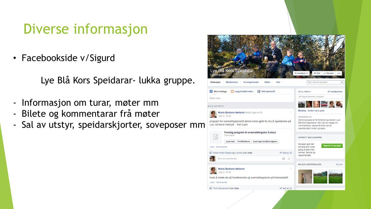 Diverse informasjon Facebookside v/Sigurd