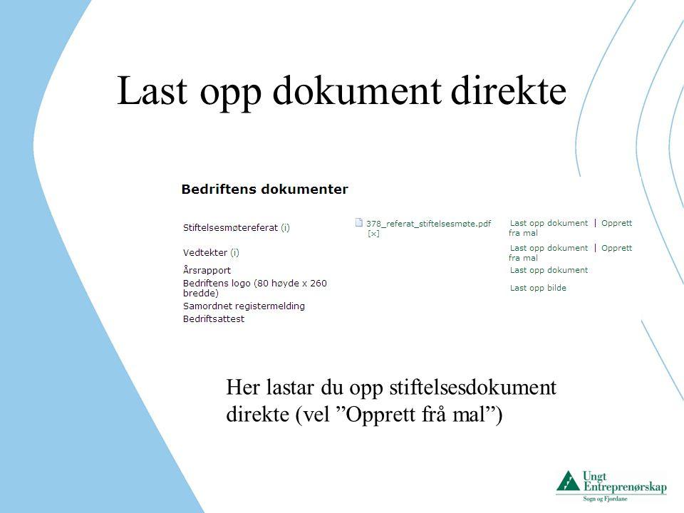Last opp dokument direkte