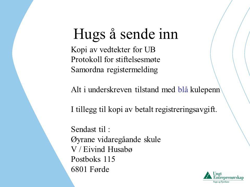 Hugs å sende inn Kopi av vedtekter for UB Protokoll for stiftelsesmøte