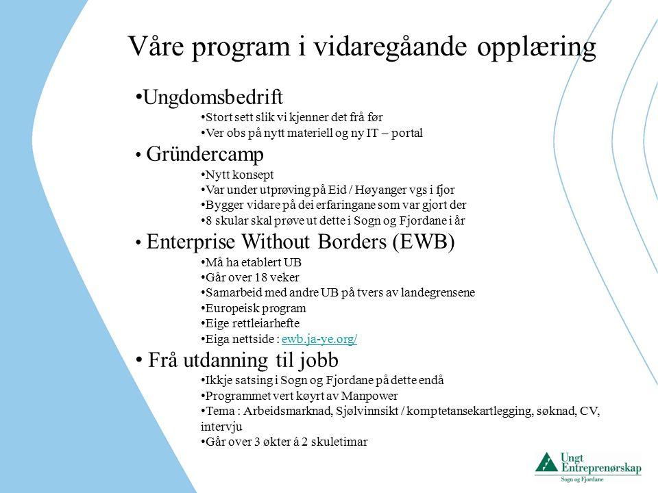 Våre program i vidaregåande opplæring