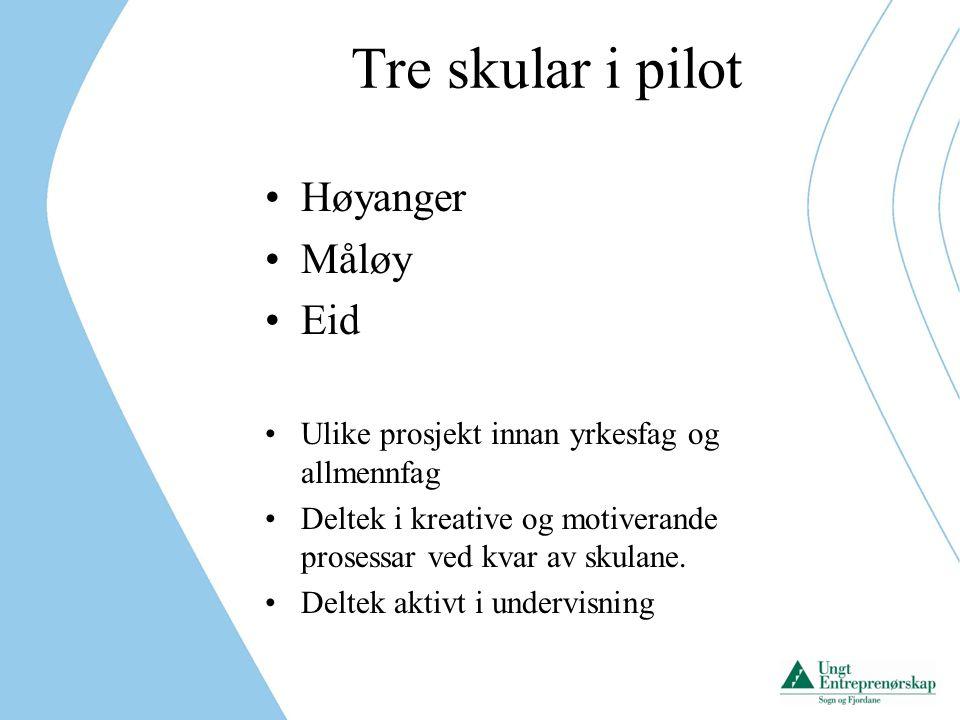 Tre skular i pilot Høyanger Måløy Eid