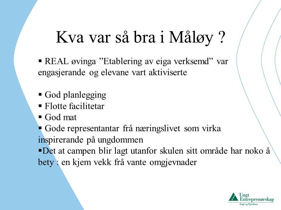 Kva var så bra i Måløy REAL øvinga Etablering av eiga verksemd var engasjerande og elevane vart aktiviserte.