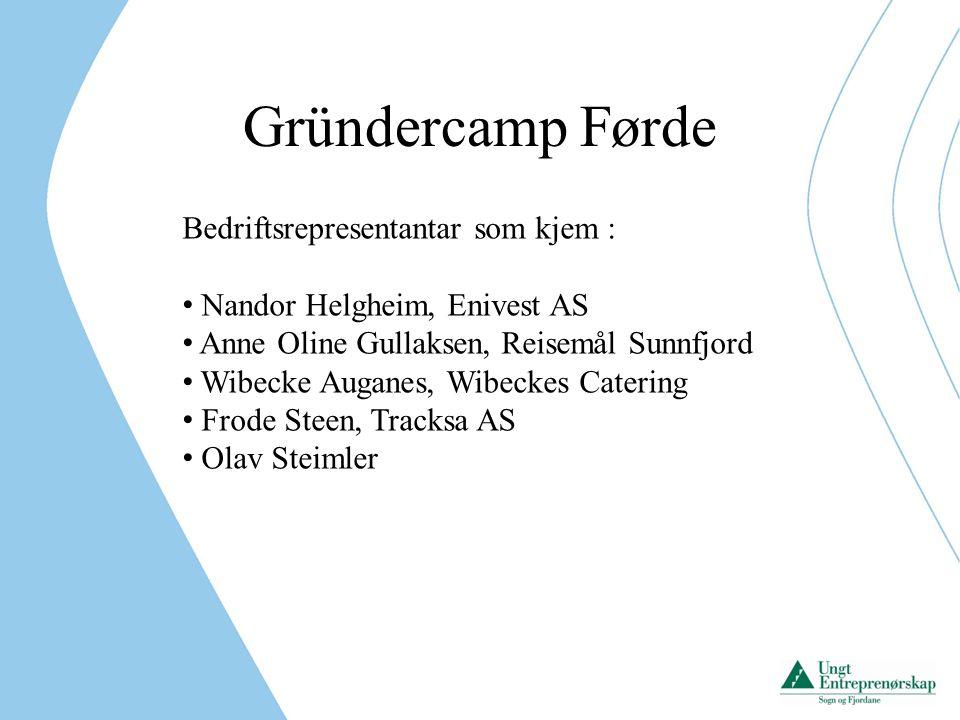 Gründercamp Førde Bedriftsrepresentantar som kjem :