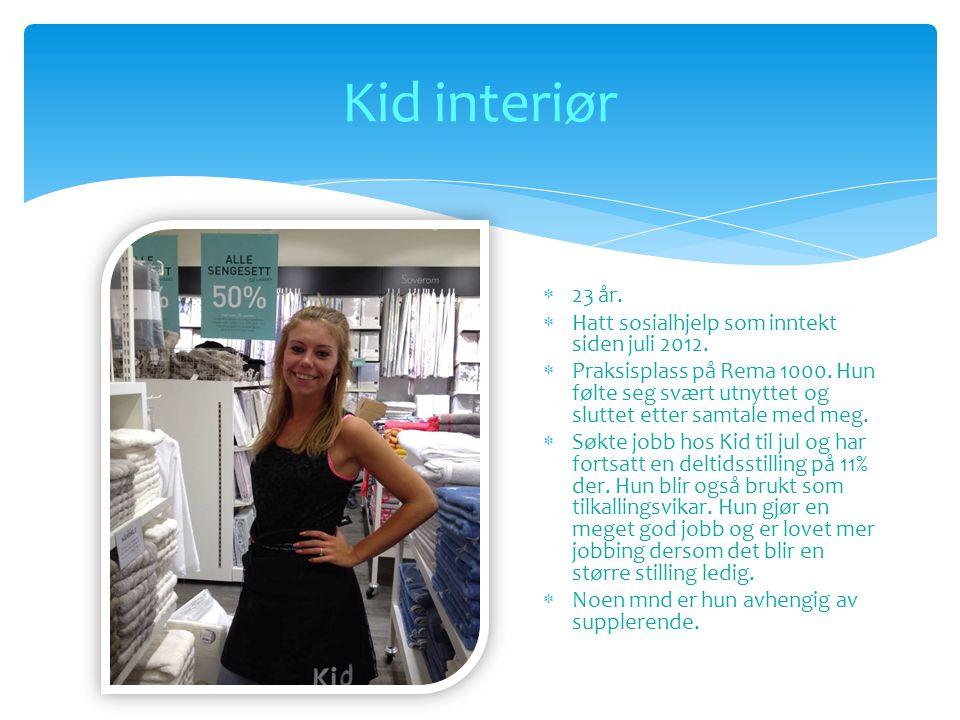 Kid interiør 23 år. Hatt sosialhjelp som inntekt siden juli 2012.