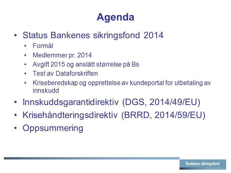 Agenda Status Bankenes sikringsfond 2014