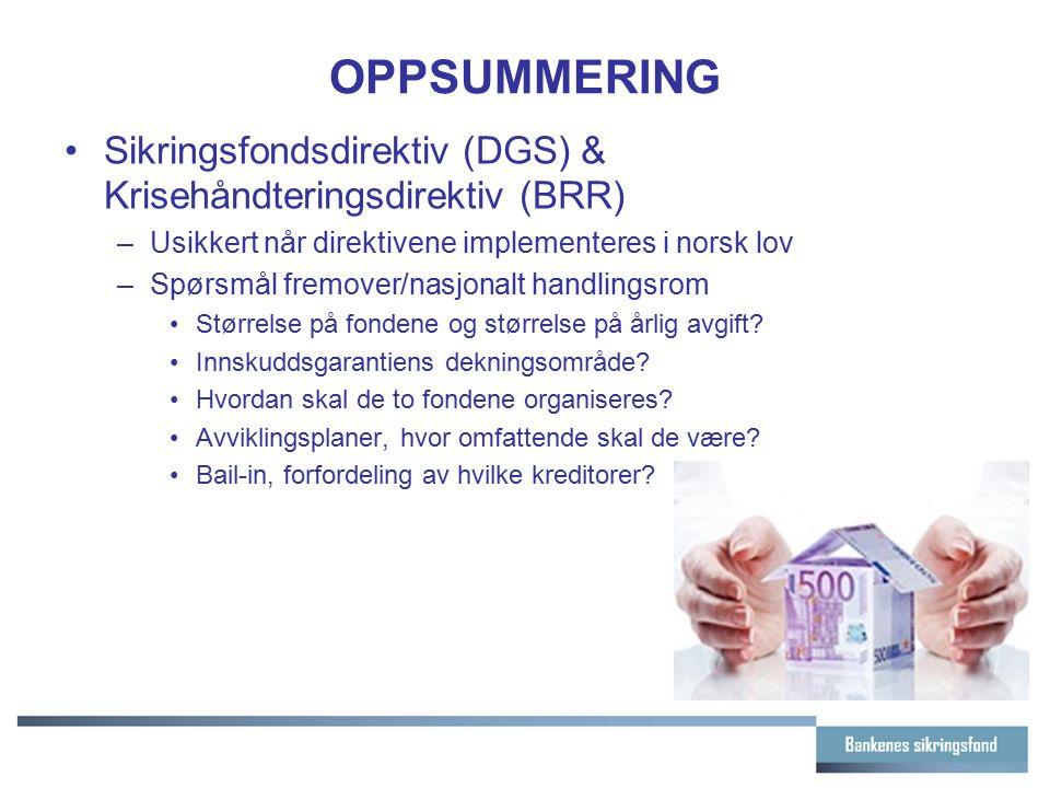 OPPSUMMERING Sikringsfondsdirektiv (DGS) & Krisehåndteringsdirektiv (BRR) Usikkert når direktivene implementeres i norsk lov.