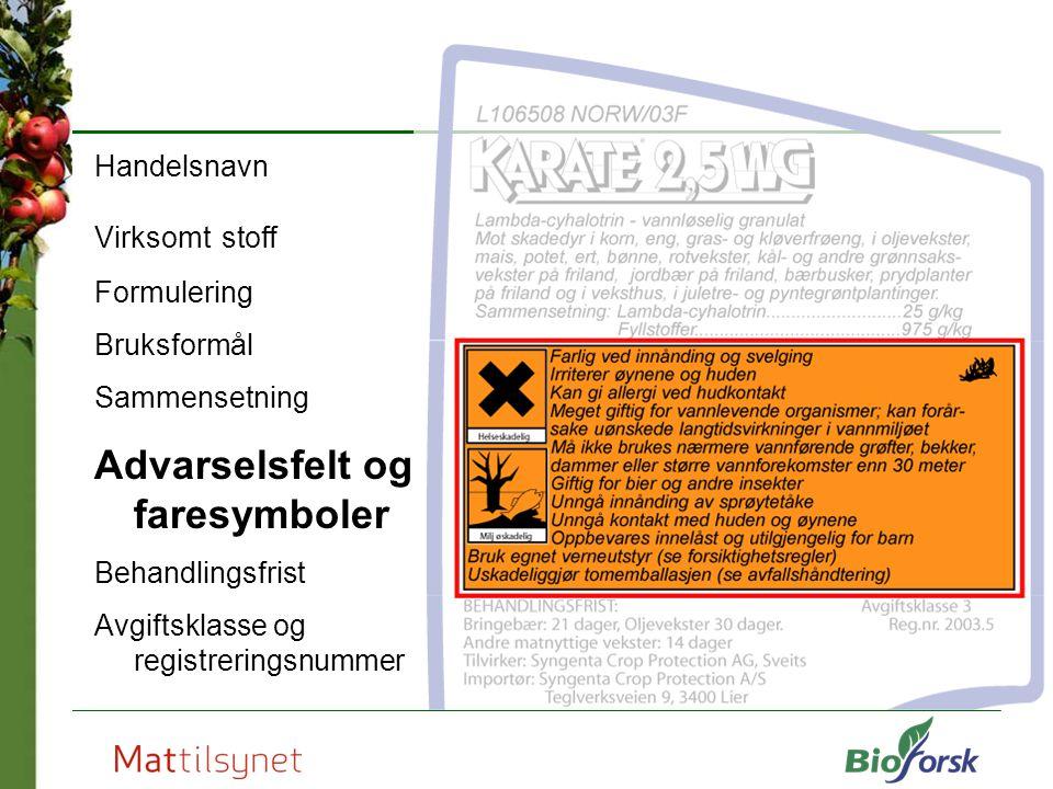 Advarselsfelt og faresymboler