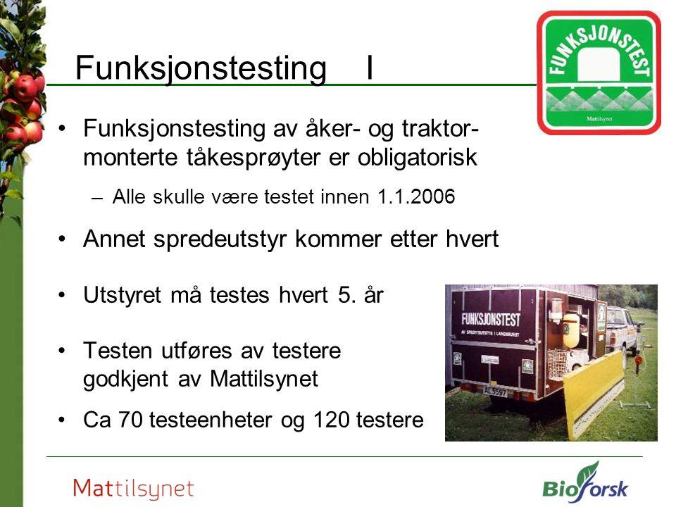 Funksjonstesting I Funksjonstesting av åker- og traktor- monterte tåkesprøyter er obligatorisk. Alle skulle være testet innen 1.1.2006.